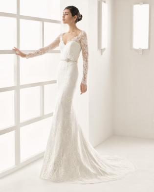 OHIO vestido novia de encaje pedrería
