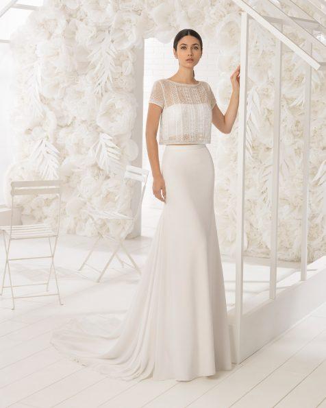 Boho-style three-piece beaded crepe wedding dress with bandeau body.