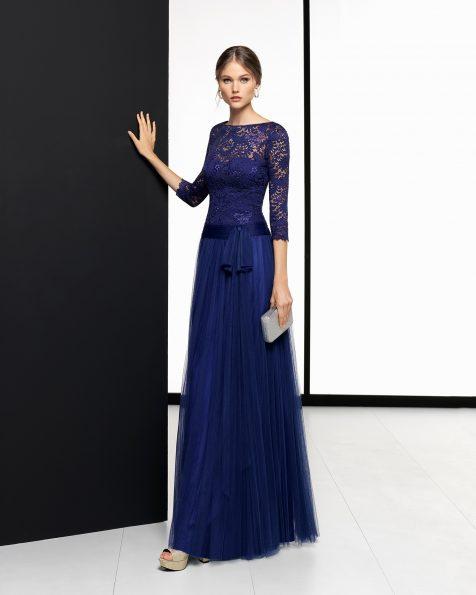 Vestido de fiesta largo de tul suave y encaje en color cobalto, negro, rojo y zafiro. Colección ROSA CLARA COCKTAIL 2018.
