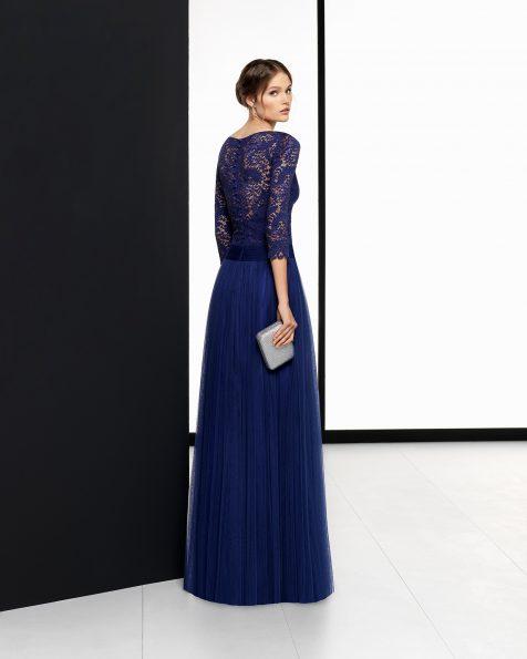 Vestit de festa llarg de tul suau i blonda de color cobalt, negre, vermell i safir. Col·lecció ROSA CLARA COCKTAIL 2018.