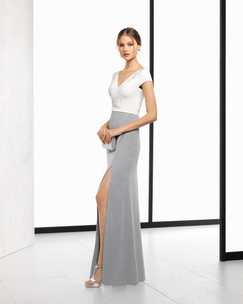 米白色/银色、米白色/绿色和米白色/深蓝色长款珠饰绉绸鸡尾酒会礼服,采用V领和V形后背设计。 ROSA CLARA COCKTAIL 新品系列 2018.