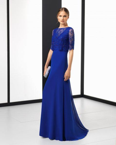 Длинное коктейльное платье из кружева с отделкой бусинами и креп-жоржета; цвета: кобальтовый, красный, темно-синий, серебристый и дымчатый. Коллекция ROSA CLARA COCKTAIL 2018.