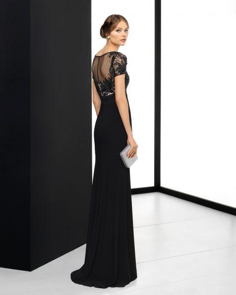 Длинное коктейльное платье из эластичного крепа с отделкой бусинами, с лифом с имитацией прозрачности; цвета: черный/телесный, красный, кобальтовый и темно-синий/телесный. Коллекция ROSA CLARA COCKTAIL 2018.