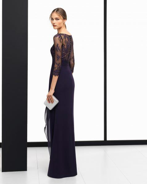 Длинное коктейльное платье из креп-жоржета и кружева, цвета: темно-синий, красный, кобальтовый, дымчатый и аквамариновый. Коллекция ROSA CLARA COCKTAIL 2018.