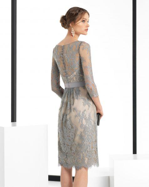 Vestido de fiesta corto y manga larga de encaje, en color plata/nude, negro/nude y marino/nude. Colección ROSA CLARA COCKTAIL 2018.