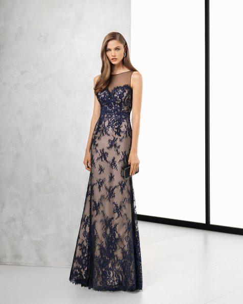 银色/裸色、黑色/裸色和藏青色/裸色长款蕾丝鸡尾酒会礼服,采用透明四分之三袖设计。 ROSA CLARA COCKTAIL 新品系列 2018.