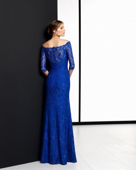 Vestido de cerimónia comprido de renda em azul-cobalto, azul-marinho, azul-acinzentado, vermelho e malva. Coleção ROSA CLARA COCKTAIL 2018.