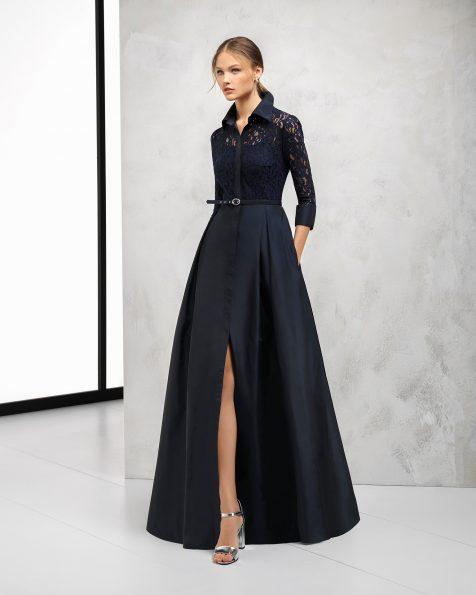 Длинное коктейльное платье из кружева с отделкой бусинами и тафты; цвета: темно-синий, зеленый, голубой и дымчатый. Коллекция ROSA CLARA COCKTAIL 2018.