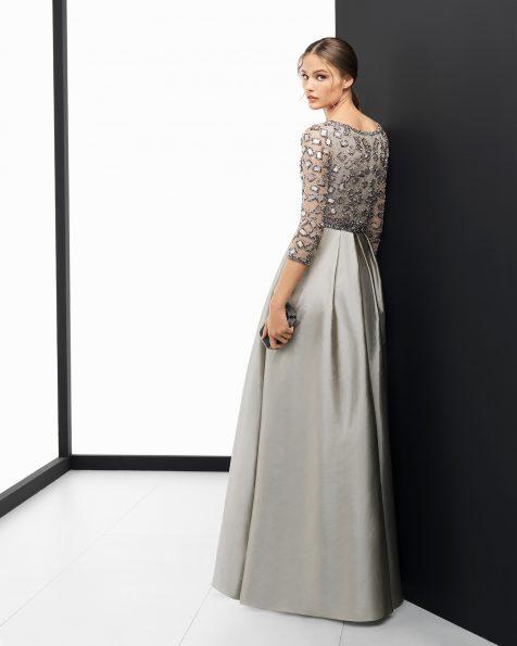 Длинное коктейльное платье из тафты с отделкой бусинами; цвета: песочный, розовый и зеленый. Коллекция ROSA CLARA COCKTAIL 2018.