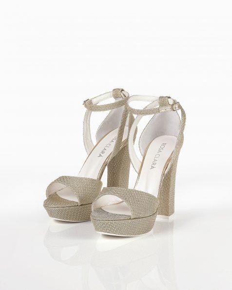 银色/米白色格子设计婚礼凉鞋,鞋跟高100 mm。 ROSA CLARA COUTURE 新品系列 2018.