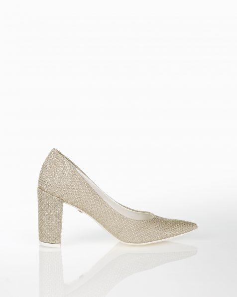 银色中跟格子设计新娘宫廷鞋。 ROSA CLARA COUTURE 新品系列 2018.