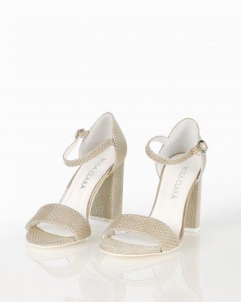 银色封闭式中跟格子设计新娘凉鞋。 ROSA CLARA COUTURE 新品系列 2018.