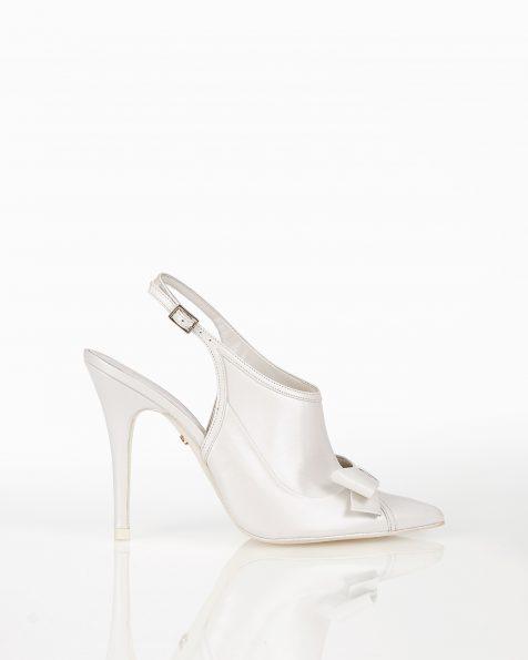蝴蝶结装饰露跟系带高跟皮革新娘宫廷鞋,有米白色和裸色可选。 ROSA CLARA COUTURE 新品系列 2018.