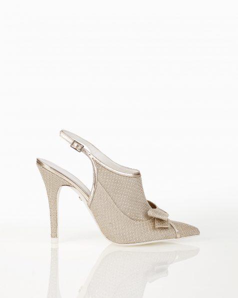 银色蝴蝶结装饰露跟系带高跟格子设计新娘宫廷鞋。 ROSA CLARA COUTURE 新品系列 2018.