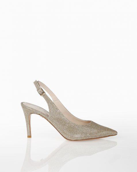 露跟系带低跟格子设计新娘宫廷鞋,有白色和白金色可选。 ROSA CLARA COUTURE 新品系列 2018.