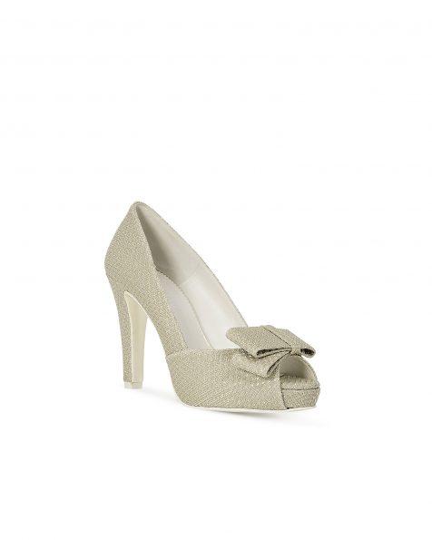 银色/米白色格子设计蝴蝶结装饰婚纱鞋,鞋跟高95 mm。 ROSA CLARA COUTURE 新品系列 2018.