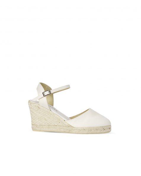 米白色色丁婚礼坡跟鞋,灰绿针草编织鞋底,鞋跟高85 mm。 ROSA CLARA COUTURE 新品系列 2018.