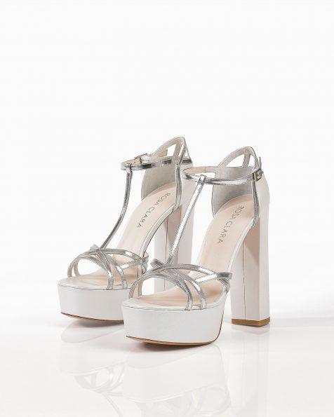 Sandales de mariée en cuir miroir, talon de 135mm, de couleur naturelle et argent. Collection ROSA CLARA COUTURE 2019.