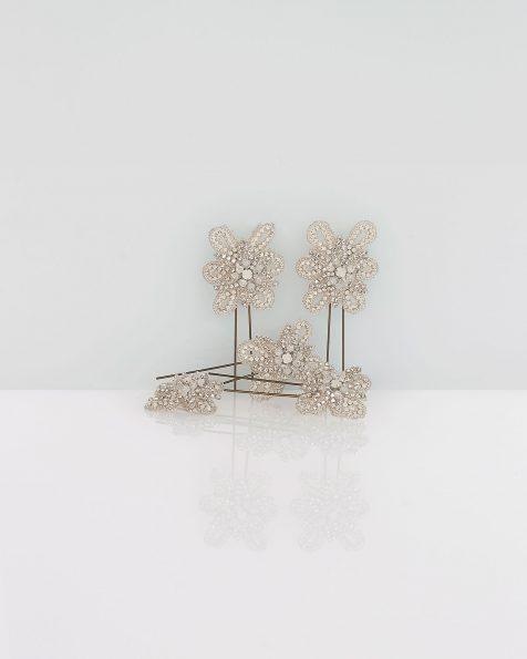 Punzón de novia en pedrería, 5uds, en color plata. Colección ROSA CLARA COUTURE 2019.