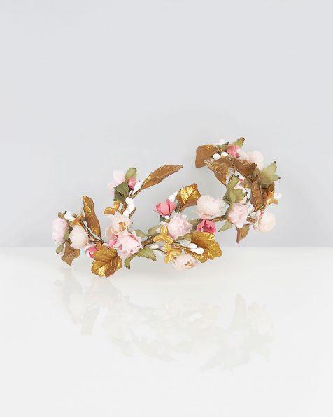 Corona de novia envolvente en porcelana y garza, en color rosa/oro. Colección ROSA CLARA COUTURE 2019.