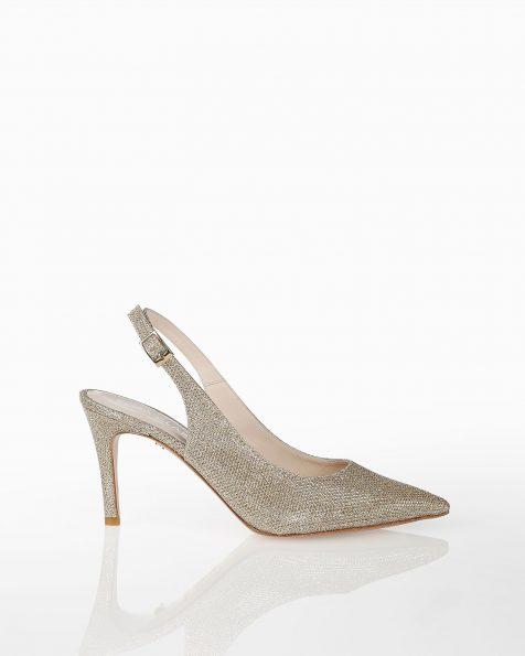 Chaussures de mariée résille style escarpins ouvertes à l'arrière, avec talon bas, disponible en couleur blanche et platine. Collection ROSA CLARA COUTURE 2019.