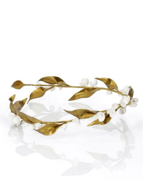 陶瓷环形花饰婚纱头冠。 有金色/白色和象牙色/白色可选。 ROSA CLARA COUTURE 新品系列 2019.
