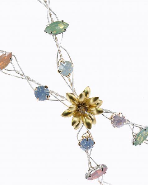 Tocado doble de novia en plata y cristal. Disponible en color oro y tonos pastel. Colección ROSA CLARA COUTURE 2019.