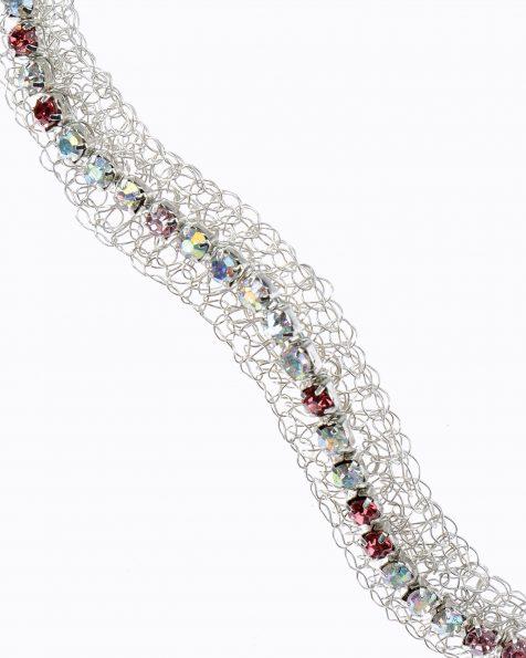 银色和水晶色手织婚纱头饰。 有银色和粉色色系可选。 ROSA CLARA COUTURE 新品系列 2019.
