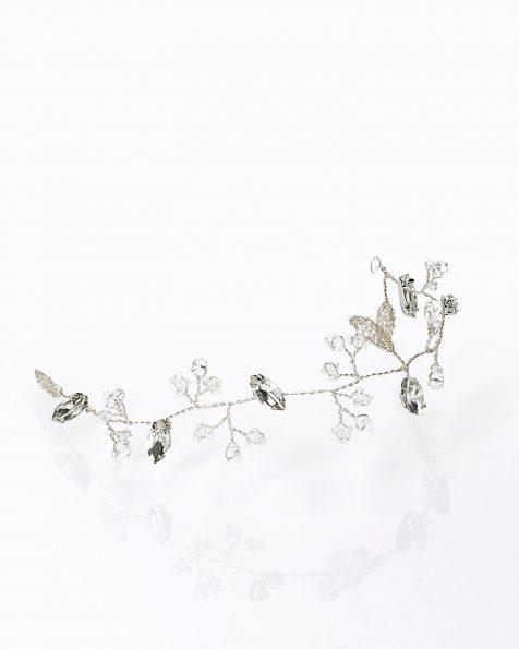 银色和水晶色婚纱长头饰,手织叶饰设计。 有银色可选。 ROSA CLARA COUTURE 新品系列 2019.