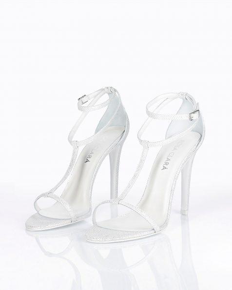Sandales de mariée en résille. Avec talon haut. Disponible en couleur naturelle, or et gris acier. Collection ROSA CLARA COUTURE 2019.