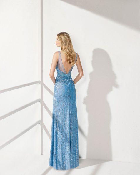 .2019 مجموعة فساتين ROSA CLARA COCKTAIL فستان طويل لحفل الكوكتيل مزين بالخرز. مع تقويرة كبيرة جداً وفتحة ظهر على شكل