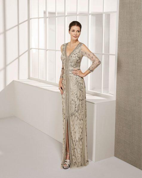 .2019 مجموعة فساتين ROSA CLARA COCKTAIL فستان طويل لحفل الكوكتيل مزين بالخرز. بكمّ طويل وتقويرة على شكل