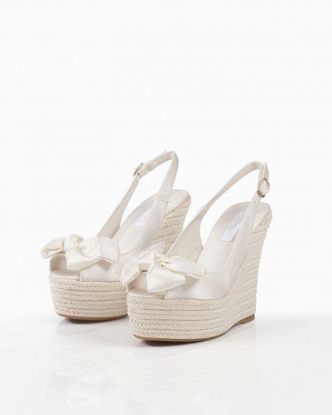 Chaussures de mariée à semelle compensée en satin, semelle en spart, avec nœud, talon de 100mm, de couleur naturelle. Collection ROSA CLARA COUTURE 2019.