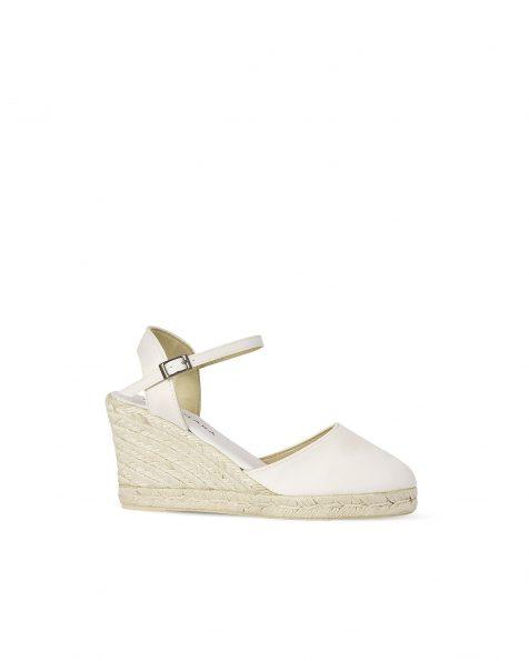 Chaussures de mariée à semelle compensée en satin, avec semelle en spart, talon de 85mm, de couleur naturelle. Collection ROSA CLARA COUTURE 2019.