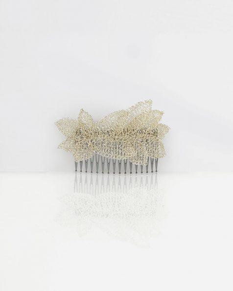 Naomi jewelled leaf-design silver wire mantilla comb, in silver. 2019 ROSA CLARA COUTURE Collection.