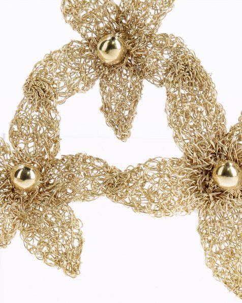 Noemi金色和粉色宝石镶饰花卉设计银丝头饰。 ROSA CLARA COUTURE 新品系列 2019.