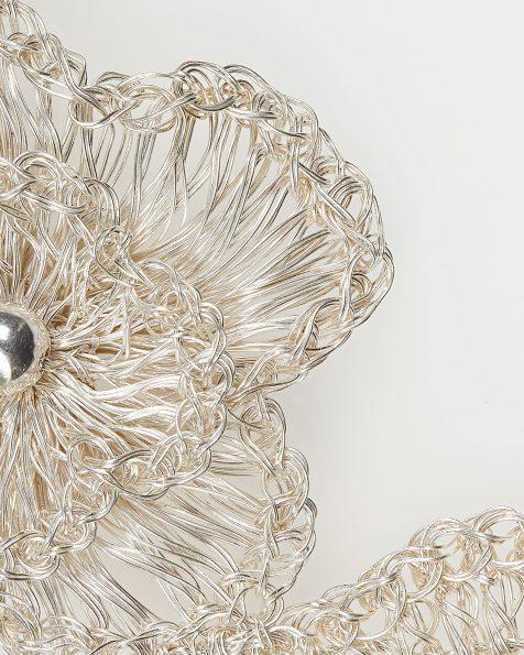 Tocado joya T10 flor y hojas en hilo de plata, en color oro o rosa. Colección ROSA CLARA COUTURE 2019.