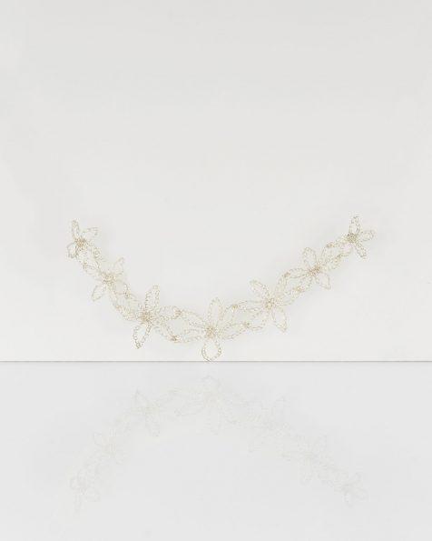 Peineta joya Estrella de hojas en hilo de plata, en color plata. Colección ROSA CLARA COUTURE 2019.