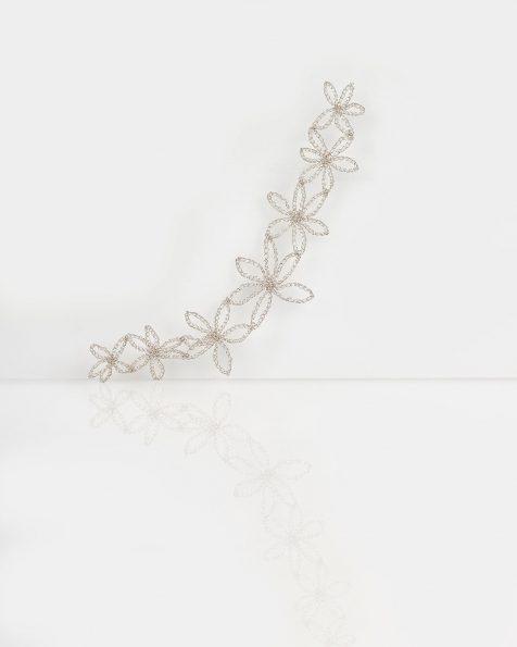 Peineta joya Estrella de hojas en hilo de plata, en color oro o rosa. Colección ROSA CLARA COUTURE 2019.