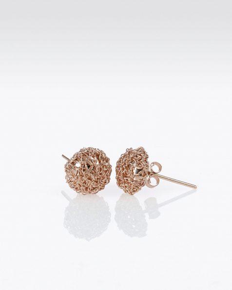 P48金色和粉色宝石镶饰银丝球形耳环。 ROSA CLARA COUTURE 新品系列 2019.