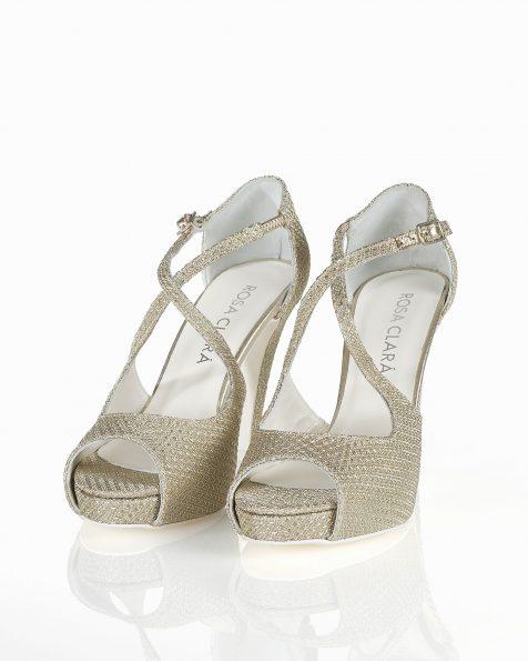 Chaussures de mariée résille avec nœud, talon de 95mm, de couleur argent/naturelle. Collection ROSA CLARA COUTURE 2019.
