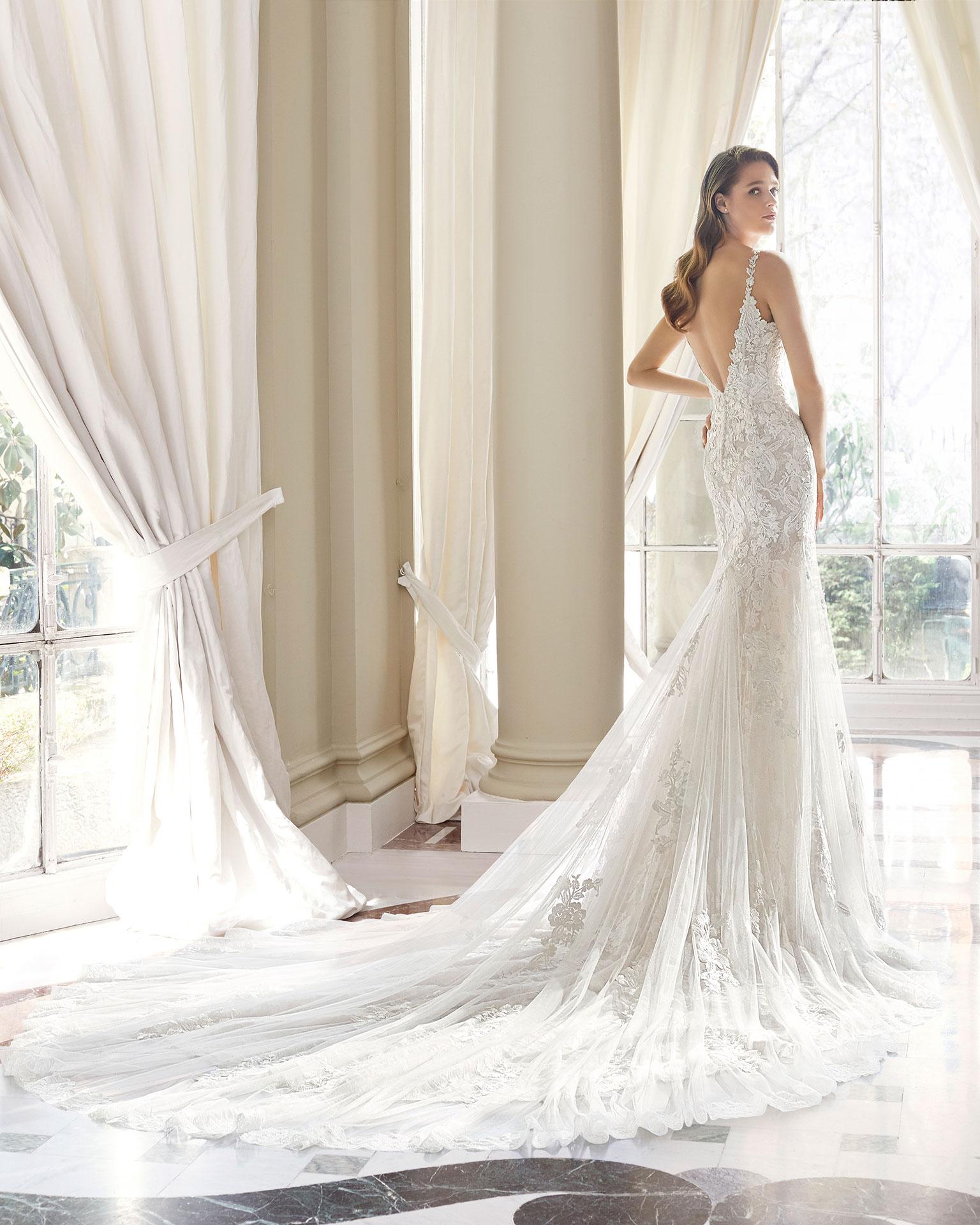 Rosa clara vestido novia mariposa