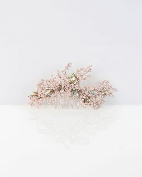 Pettinino da sposa in resina, colore rosa. Collezione ROSA CLARA COUTURE 2020.