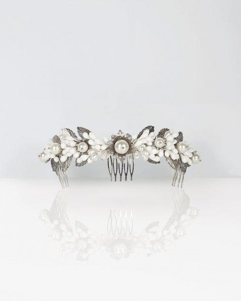 Corona gioiello da sposa in metallo e porcellana, colore argento/naturale. Collezione ROSA CLARA COUTURE 2020.