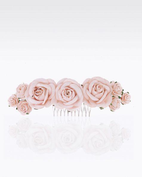 Travessa de noiva com flores. Disponível em cor natural, nude, azul e rosa. Coleção ROSA CLARA COUTURE 2020.