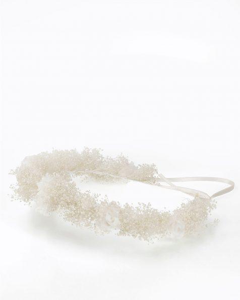 Coroa de noiva estilo boho de flores e sementes. Disponível em cor natural. Coleção ROSA CLARA COUTURE 2020.