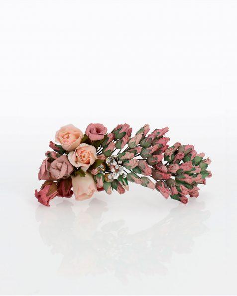 Brautkopfschmuck mit Papierblumen. Mit Strassverzierung. Kollektion ROSA CLARA COUTURE 2020.