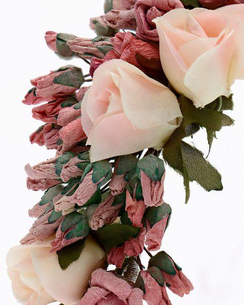 Brautkopfschmuck mit Papierblumen. Mit Strassverzierung und Organza-Bändern. Kollektion ROSA CLARA COUTURE 2020.