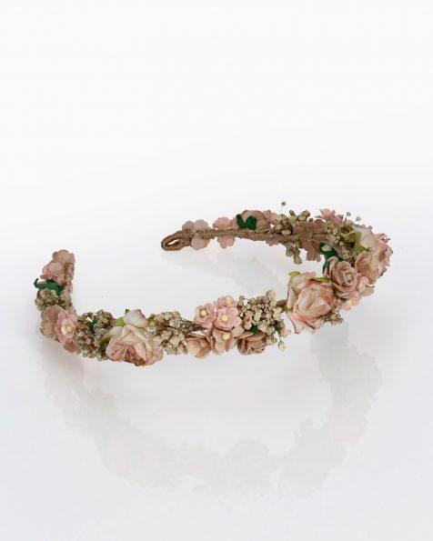 Diadema de noiva com flores de papel e sementes naturais. Coleção ROSA CLARA COUTURE 2020.