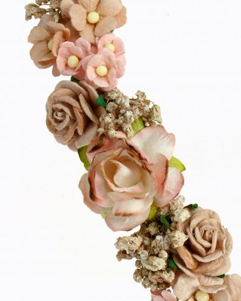 Braut-Haarreif mit Papierblumen und echten Samenkörnern. Kollektion ROSA CLARA COUTURE 2020.